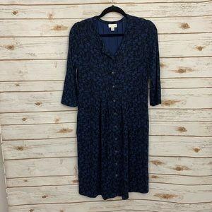 J Jill Blue Black Floral Button Shirt Dress